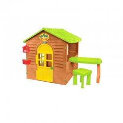 Jaukus sodo žaidimų namelis su staliuku ir kėde