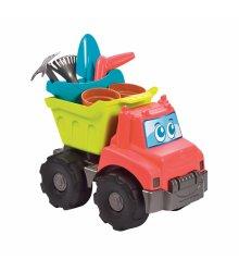 Sunkvežimis su smėlio žaislų rikiniu