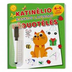 """Užduočių knygelė rankos lavinimui """"Katinėlio užduotėlės"""" (su flomasteriu)"""