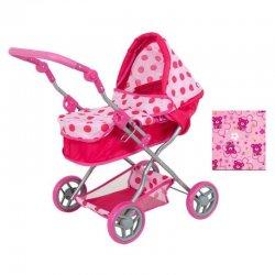 Rožinis lėlių vežimėlis - lopšys