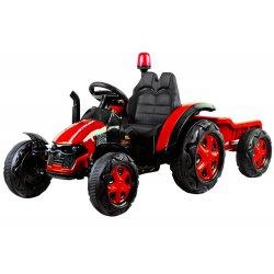 Nuotoliniu pultu valdomas raudonas traktorius su priekaba