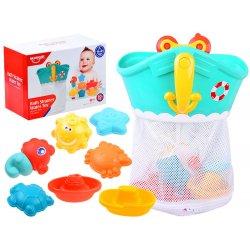 """Spalvingas vonios žaislų rinkinys """"Laivelis"""" su krepšeliu"""