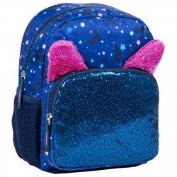 Mėlyna - blizgi kuprinė - katinėliai su ausytėmis