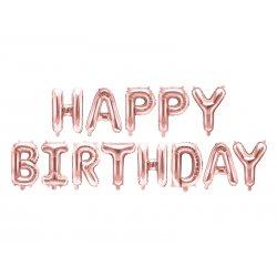 """Rausvi foliniai balionai """"Happy Birthday"""" 340x35cm"""