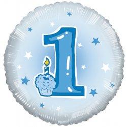 """Apvalus folinis balionas pirmojo gimtadienio proga """"1"""" / 45 cm"""