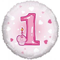 """Rožinių akcentų folinis balionas pirmojo gimtadienio proga """"1"""" / 45 cm"""