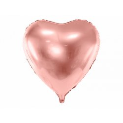 """Rožinio aukso spalvos folinis balionas """"Širdelė"""" 72x73cm"""