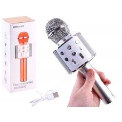 Sidabro spalvos belaidis mikrofonas