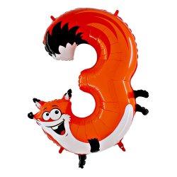 """Oranžinis folinis balionas Lapė - """"Skaičius 3"""" / 100 cm"""