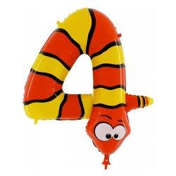 """Folinis balionas gyvatė - """"Skaičius 4"""" / 100 cm"""