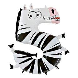 """Folinis balionas žirafėlė - """"Skaičius 5"""" / 100 cm"""