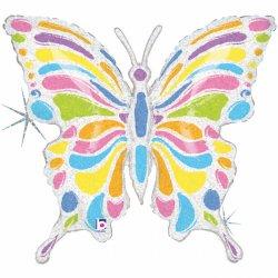 Šviesus drugelio formos folinis balionas / 84 cm