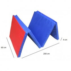 Sulankstomas gimnastikos čiužinys 200x60x4cm, mėlyna-raudona