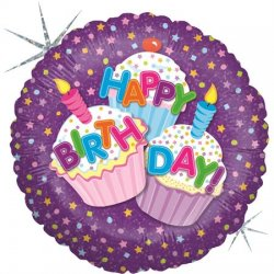 "Violetinis folinis balionas - ""Happy birthday"" / 45 cm"
