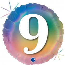 """Vaivorykštės spalvų balionas - """"Devyni"""" / 45 cm"""