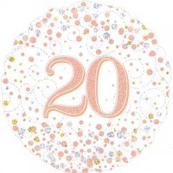 """Holografinis folinis balionas - """"20 gimtadieniui"""" / 45 cm"""