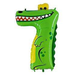 """Žalsvas folinis balionas - """"Krokodilas skaičiukas 7"""" / 100 cm"""