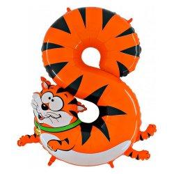 """Oranžinis folinis balionas - """"Katinas skaičiukas 8"""" / 100 cm"""
