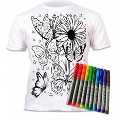 """Marškinėliai su flomasteriais piešimui """"Drugeliai"""" 3-4 metai"""