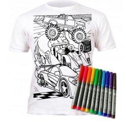"""Marškinėliai su flomasteriais piešimui """"Mašinos"""" 5-6 metai"""