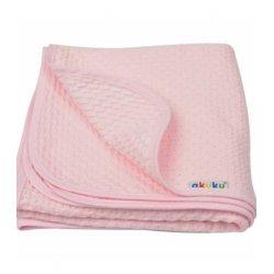 Rožinis medvilninis pledukas / 80x90 cm