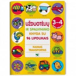 """Lavinamoji knyga su lipdukais """"Kaimas ir transportas"""" 3-4m"""