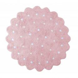 Rožinis apvalus vaikiškas kilimas