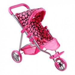 OLIVIA vežimėlis lėlytėms, rožinis, juodas