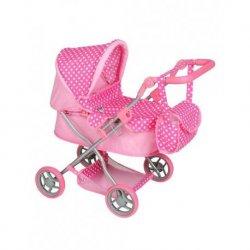 Rožinis su baltais taškeliais lėlių vežimėlis
