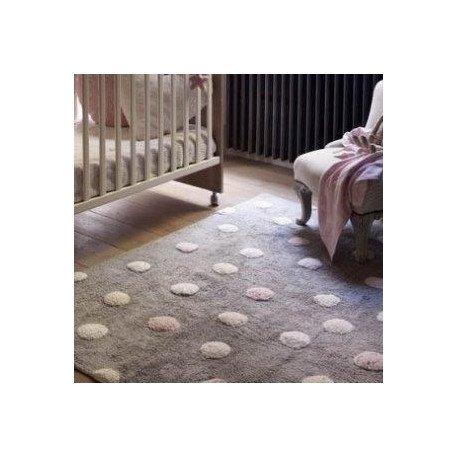 Pilkas vaikiškas kilimas su spalvotais taškiukais