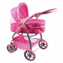 Vežimėlis lėlėlms 2in1, baltos ir rožinės spalvos