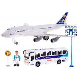 Aviacijos rinkinys: keleivinis lėktuvas su autobusu