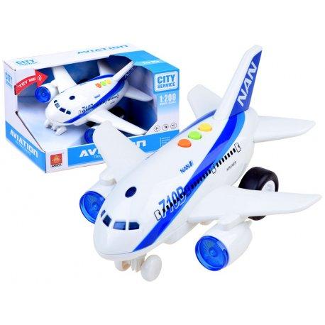 Baltas vaikiškas lėktuvas su garsais