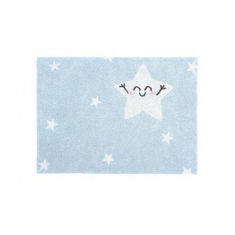 Melsvas vaikiškas kilimas su žvaigždelėmis