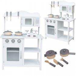 """Balta medinė virtuvėlė su priedais """"Klasika"""""""