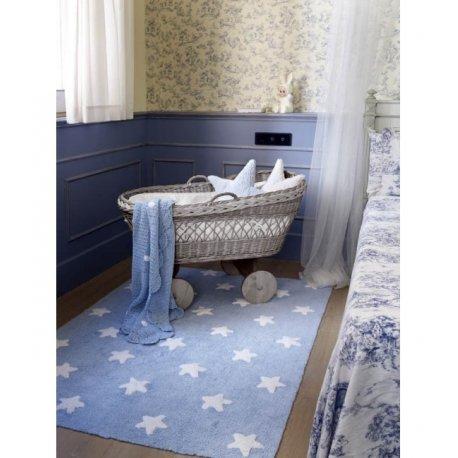 Melsvas vaikiškas kilimas su baltomis žvaigždelėmis