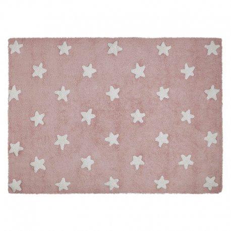 Rožinis vaikiškas kilimas su baltomis žvaigždelėmi