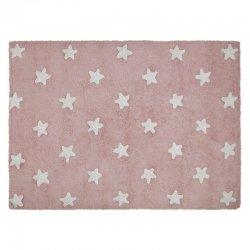 Rožinis vaikiškas kilimas su baltomis žvaigždelėmis