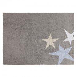 Pilkas vaikiškas kilimas su didelėmis žvaigždėmis