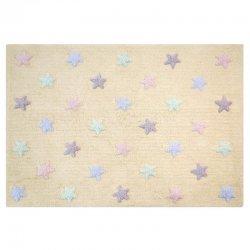 Gelsvas vaikiškas kilimas su spalvotomis žvaigždutėmis