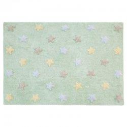Žalsvas vaikiškas kilimas su spalvotomis žvaigždutėmis