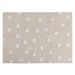 Kreminės spalvos kilimas su baltais taškučiais