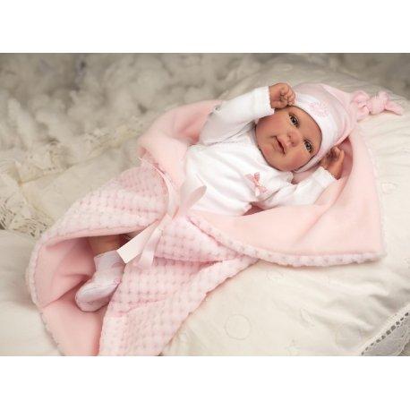 Reborn lėlė su rožiniu pledu, 45cm