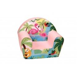 """Rožinis vaikiškas fotelis - """"Flamingai"""""""
