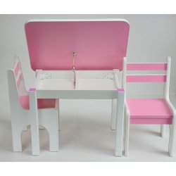 Rožinis staliuko ir 2 kėdučių komplektas