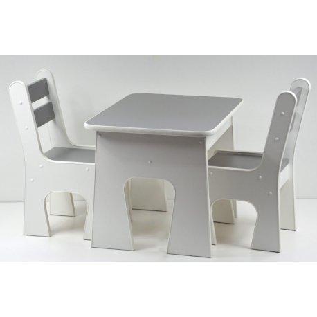Pilkas vaikiškas staliukas su 2 kėdutėmis