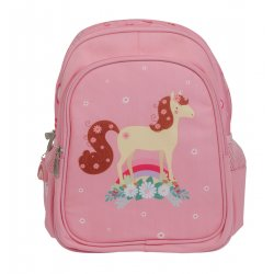 Rožinė kuprinė su arkliuku