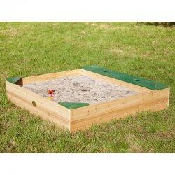 Medinė smėlio dėžė su daiktadėže