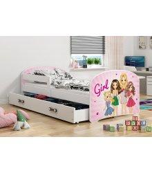 """Vaikiška viengulė lova su stalčiumi - """"Mergaitės"""""""