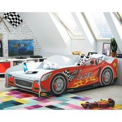 """Raudona viengulė vaikiška lova - """"Lenktyninis automobilis"""""""